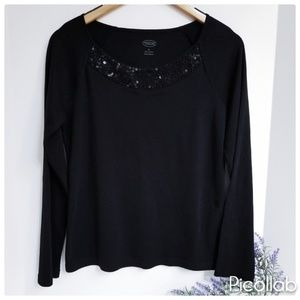 Talbots Beaded Neck Jersey Top